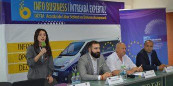 """Sesiunea de informare cu antreprenorii cu genericul """"DCFTA INFO BUSINESS: ÎNTREABĂ EXPERTUL"""""""